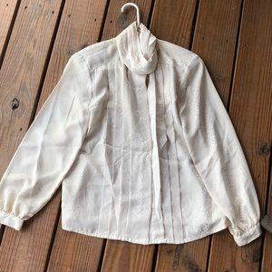 Vintage Le Blouse Cream High Neck Blouse-10